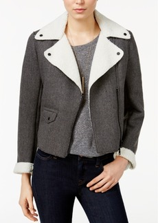 Armani Exchange Faux-Fur-Trim Bomber Jacket