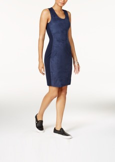 Armani Exchange Faux Suede Jersey Dress
