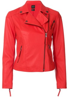 Armani Exchange fitted cropped biker jacket - Red