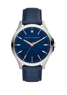 Armani Exchange Hampton Stainless Steel and Leather-Strap Watch