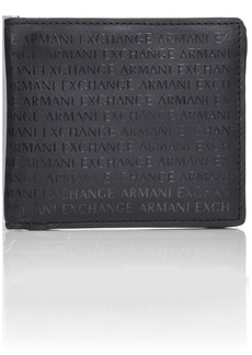 Armani Exchange Men's All Over Laser Logo Bi Fold Wallet nero