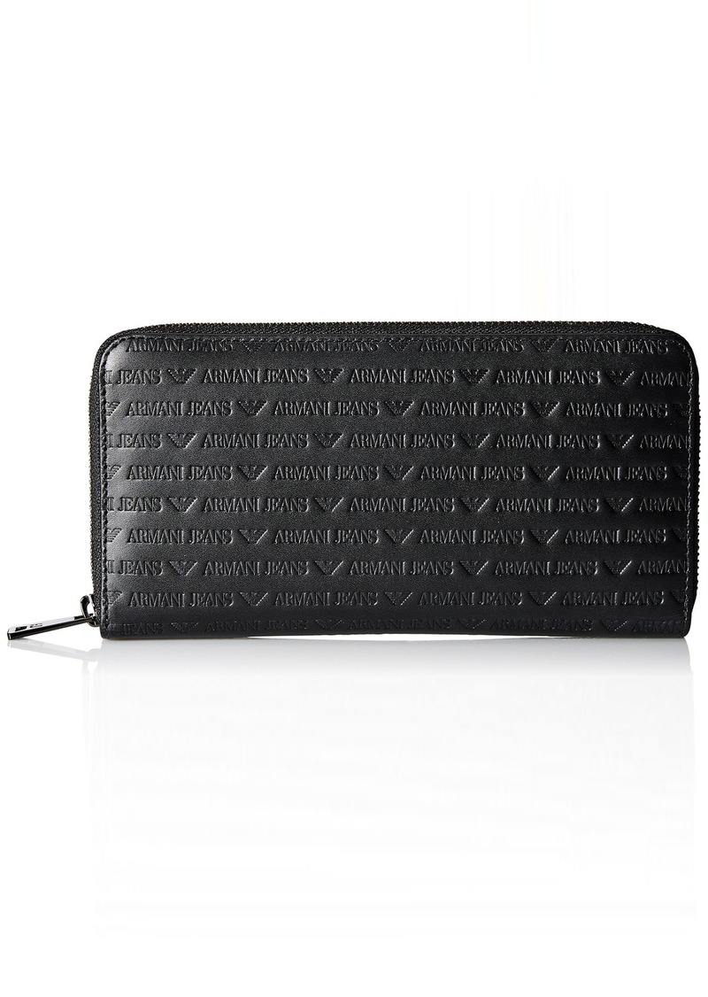 Armani Exchange Men's All Over Logo Embossed Leather Round Zip Wallet black