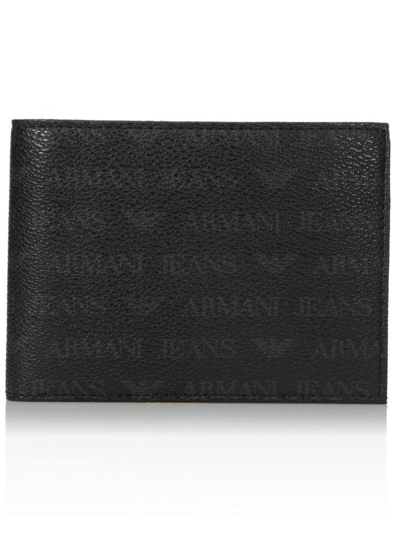 Armani Exchange Men's All Over Logo Pu Bi Fold Wallet black One Size