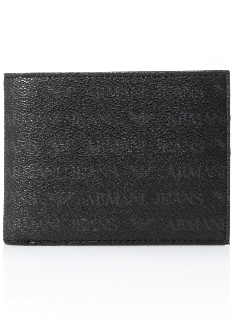 Armani Exchange Men's All Over Logo Pu Bi Fold Wallet with Coin Pocket black One Size
