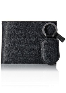 Armani Exchange Men's All Over Logo Pu Bifold Wallet with Coin Pocket & Keyring black