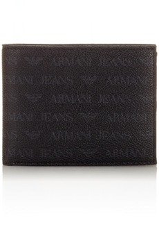 Armani Exchange Men's All Over Logo Pu Tri-Fold Wallet black