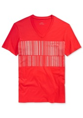 Armani Exchange Men's Barcode Graphic-Print Logo V-Neck T-Shirt