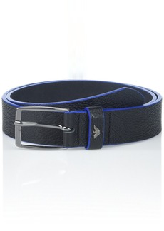 303ea12f8d6 Armani Exchange Men s Belt with Contrast Colored Trim blue black ONE SIZE