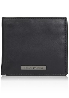 Armani Exchange Men's Bi-Fold Coin Pocket Wallet nero