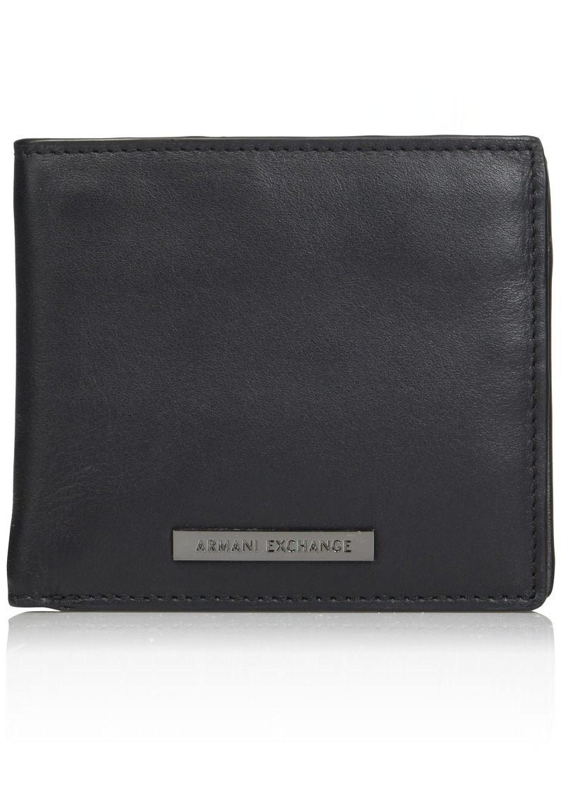 Armani Exchange Men's Bi-Fold Coin Pocket Wallet nero