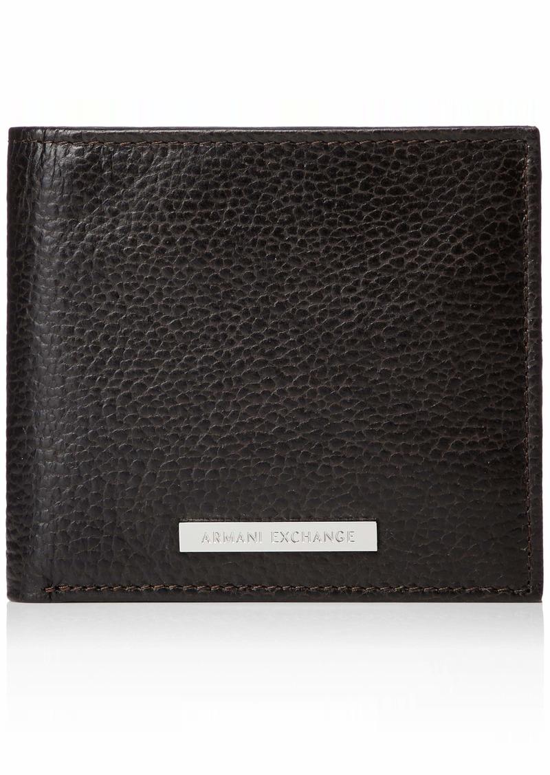 Armani Exchange Men's Bifold Coin Case Wallet dark brown