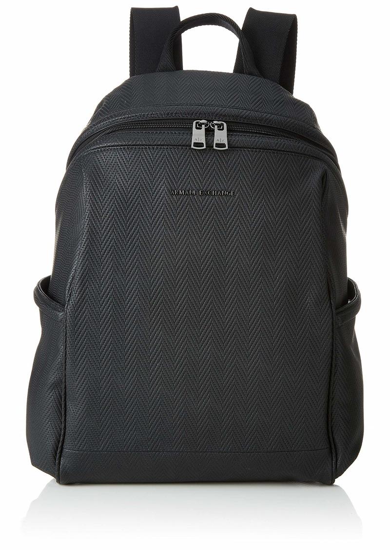 Armani Exchange Men's Boxy Zippered Backpack Black Chevron