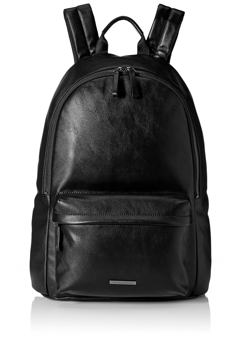 Armani Exchange Men s Ecoleather Minimalist Backpack with Front Zip Pocket  Black d49eb67e39758