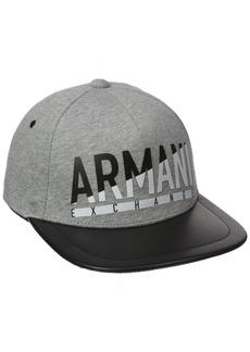 Armani Exchange Men's Faux Leather Flat Bill Logo Hat