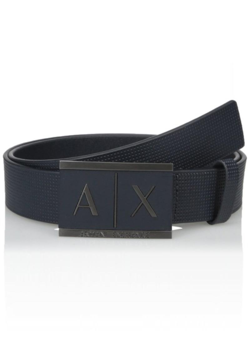 Armani Exchange Men's Inlay Logo Buckle Belt Navy