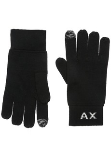 Armani Exchange Men's Knit Logo Gloves black