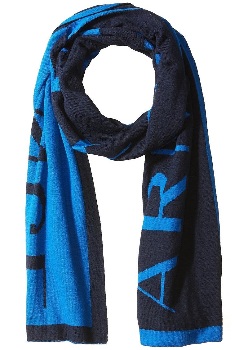 Armani Exchange Armani Exchange Mens Knit Oversized Logo Scarf