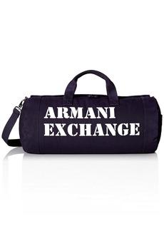 Armani Exchange Men's Large Printed Logo Canvas Duffle Weekender Gym Bag