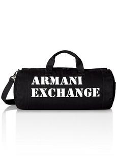 Armani Exchange Men's Large Printed Logo Canvas Duffle Weekender Gym Bag Black