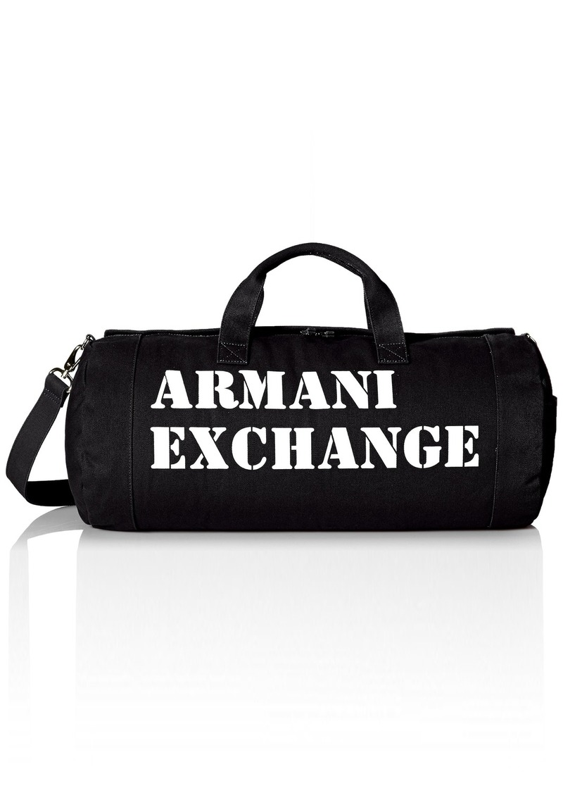 4efb0915f07b Armani Exchange Men s Large Printed Logo Canvas Duffle Weekender Gym Bag  Black