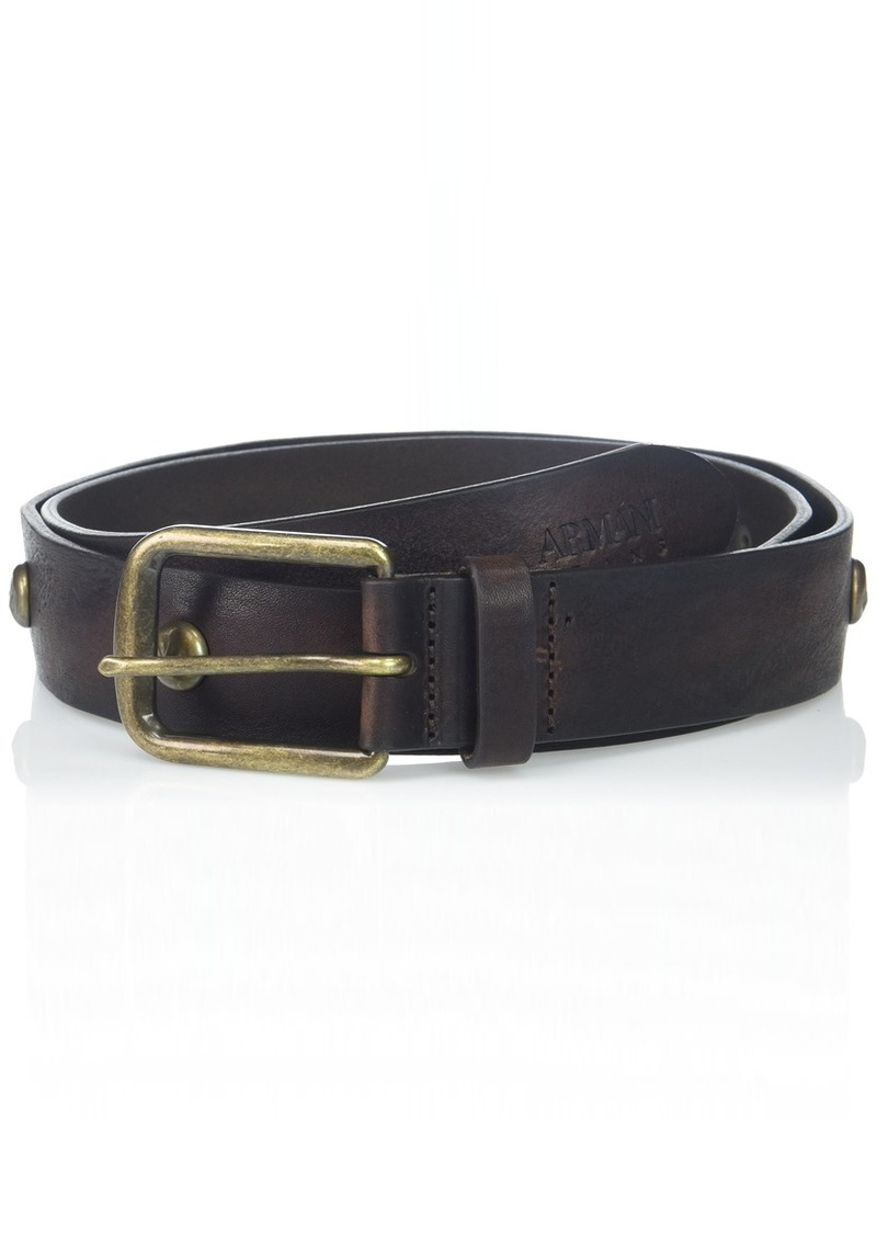 Armani Exchange Men's Leather Belt with Copper Latch and Studs dark brown