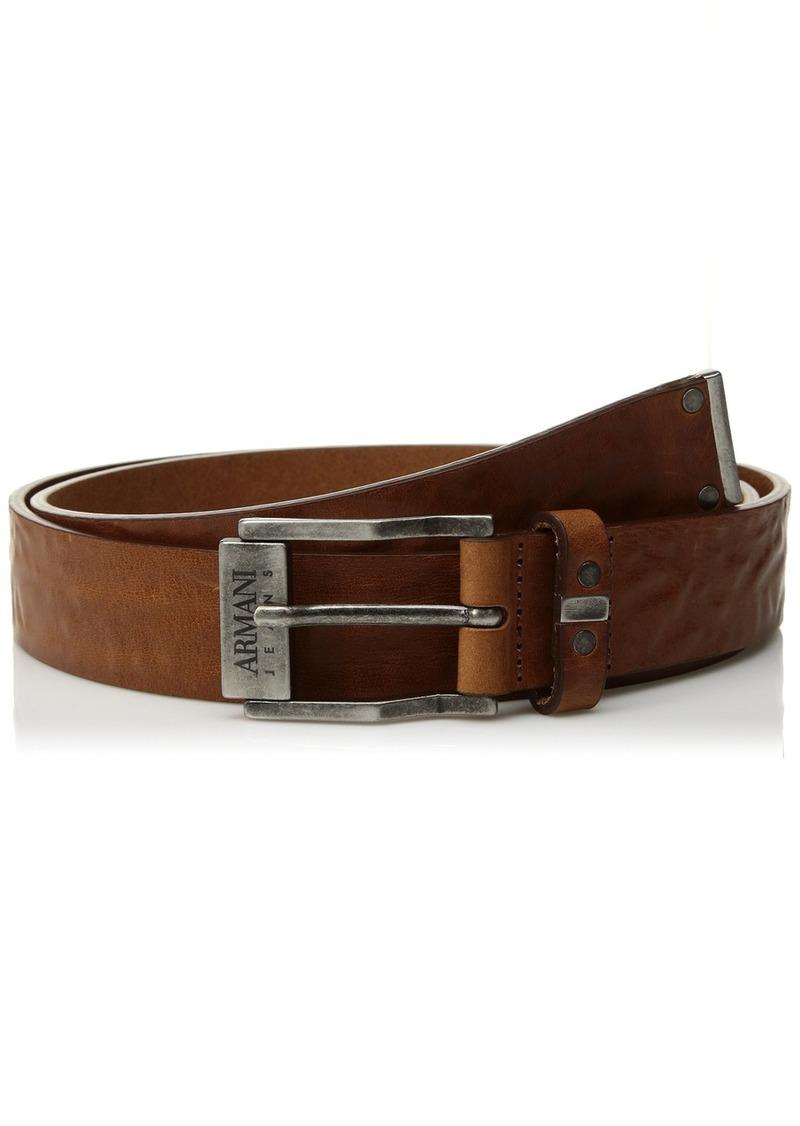 Armani Exchange Men's Leather Belt with Gunmetal Accents