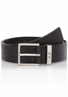 Armani Exchange Men's Leather Belt with Logo on Keeper nero/black