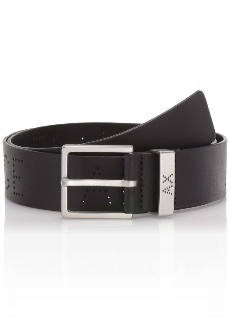 Armani Exchange Men's Leather Belt with Logo on Keeper nero/black