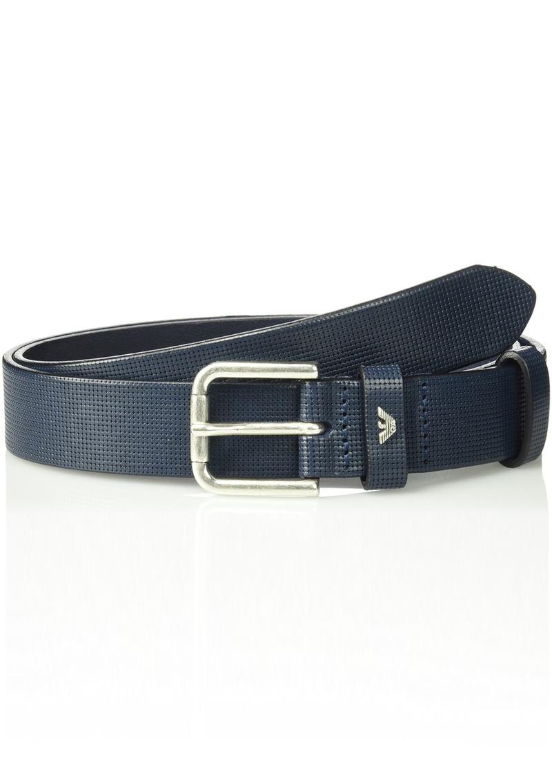 Armani Exchange Men's Leather Belt with Minimalist Logo Blue