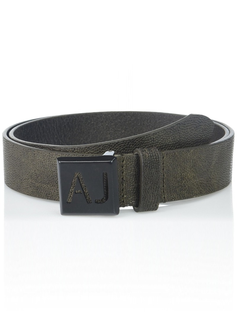 d87ecb81 Men's Leather Belt with Stenciled Logo On Buckle dark green