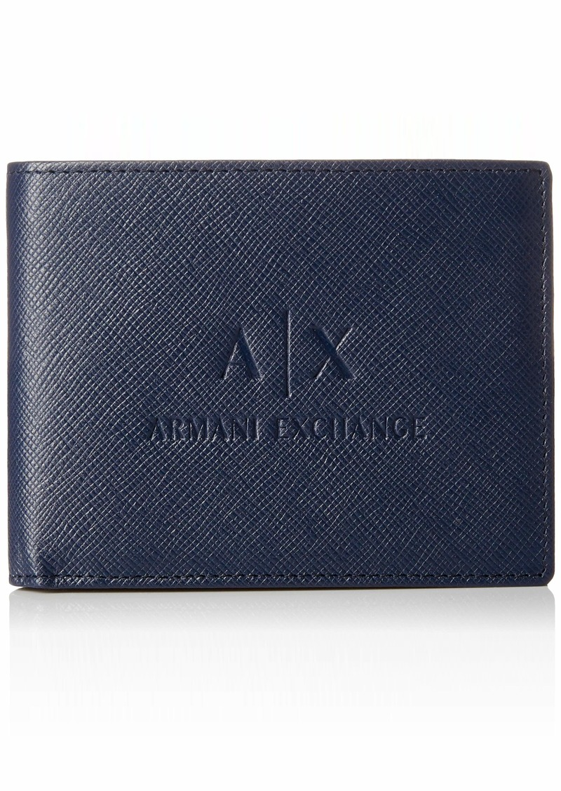 Armani Exchange Men's Leather Trifold Credit Card Wallet navy
