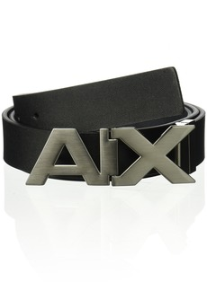 Armani Exchange Men's Leather Wide Logo Belt Buckle black/phantom