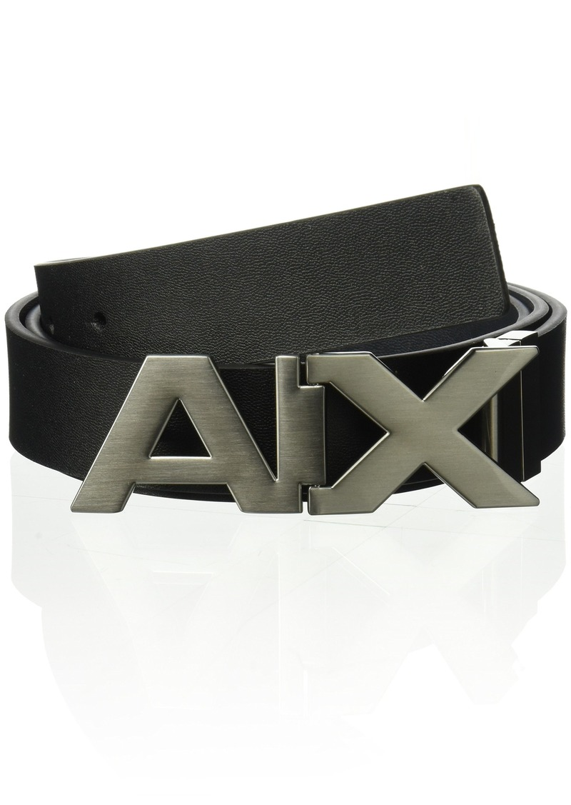 Armani Exchange Men's Leather Wide Logo Belt Buckle black/phantom