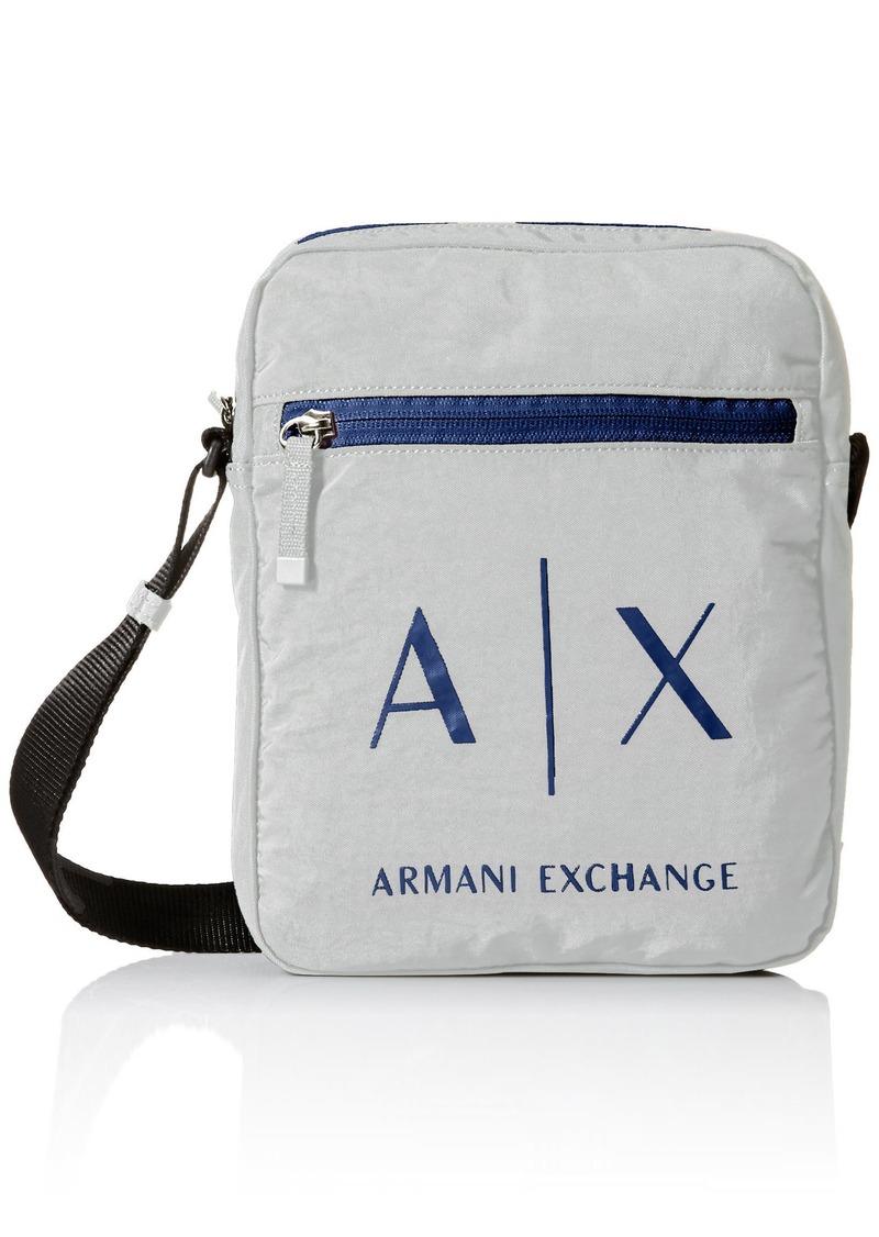 9b778e319e63 Armani Exchange Men s Light Weight Crinkle Nylon Logo Crossbody Satchel Bag