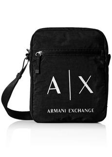 Armani Exchange Men's Light Weight Crinkle Nylon Logo Crossbody Satchel Bag