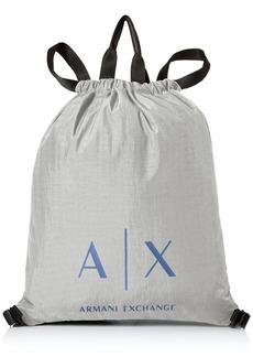 Armani Exchange Men's Light Weight Crinkle Nylon Logo Drawstring Tote/Backpack