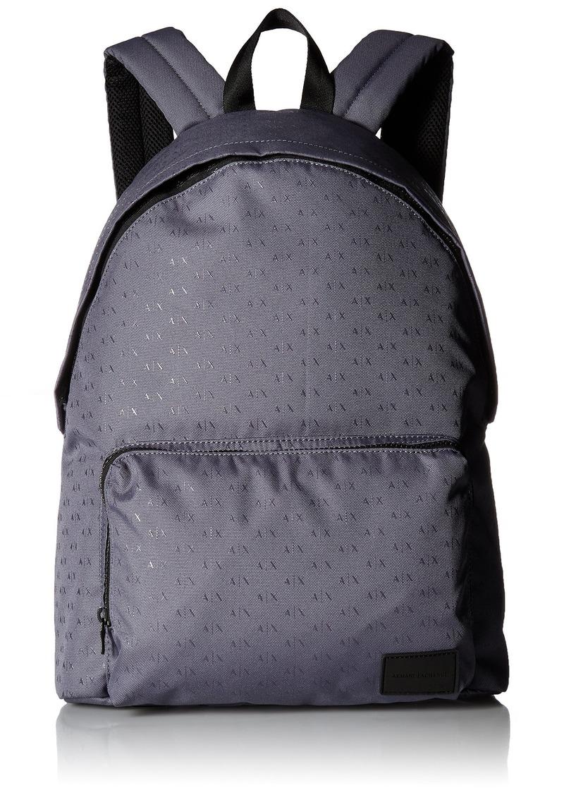 Armani Exchange Men's Light Weight Dobby Nylon All Over Logo Backpack
