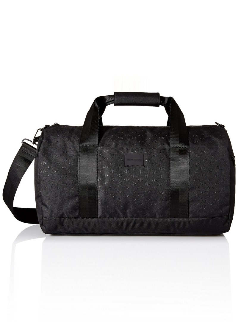 7712a1299031 Armani Exchange Men s Light Weight Dobby Nylon All Over Logo Duffle  Weekender Bag