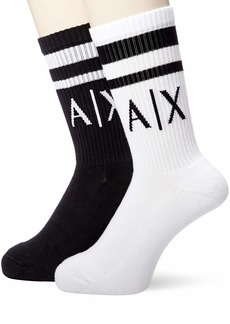 Armani Exchange Men's Logo Crew Socks nero/bianco/black/white L/XL