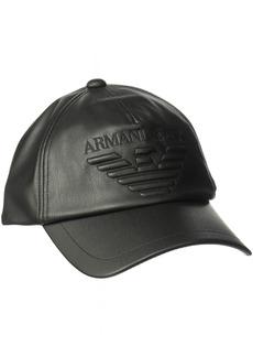 Armani Exchange Men's Nappa Leather Look Soft Logo Baseball Cap  ONE SIZE