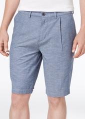 Armani Exchange Men's Pleated Dot-Print Chambray Shorts