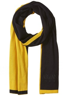 Armani Exchange Men's Pure Merino Wool Knit Scarf with Embroidered Brand Name  ONE Size