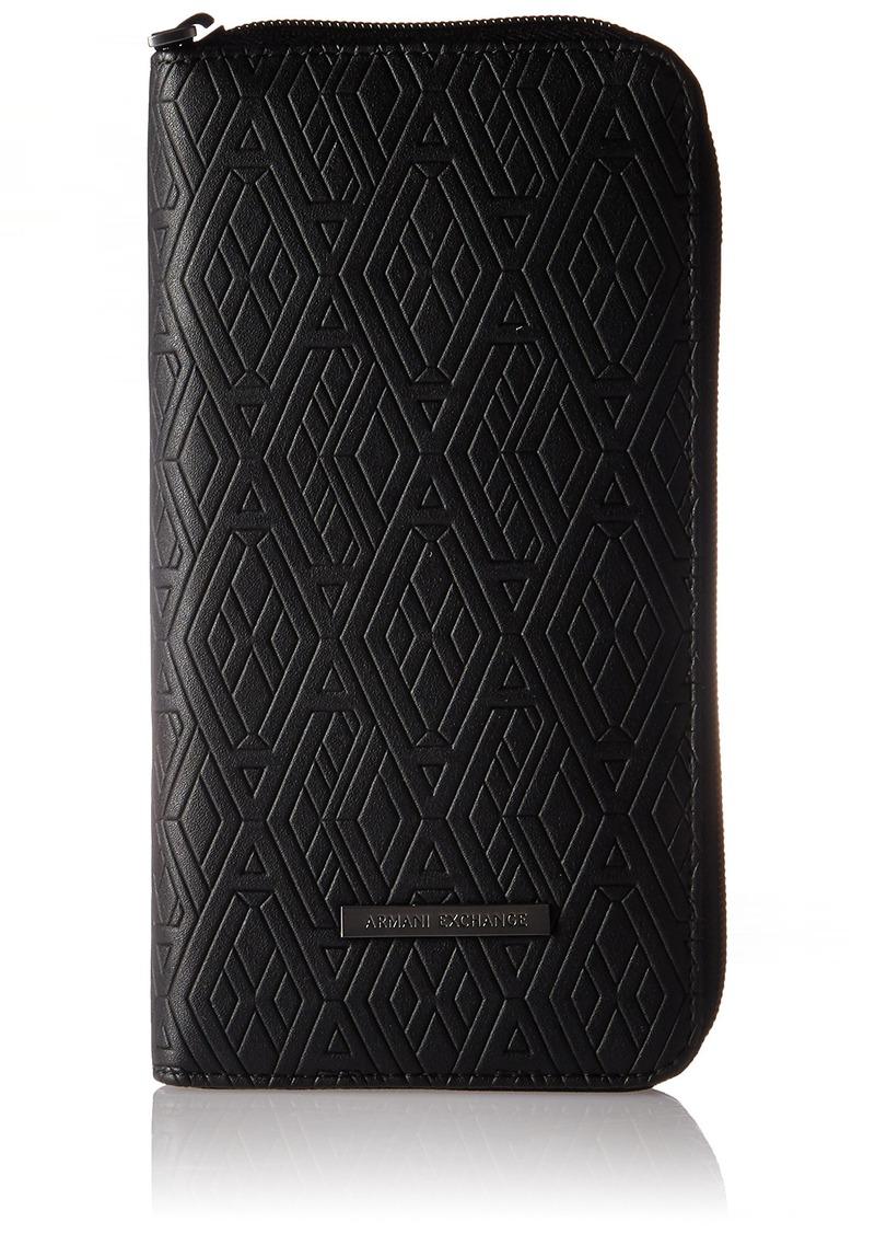 Armani Exchange Men's Round Zip Embossed Wallet black print ax