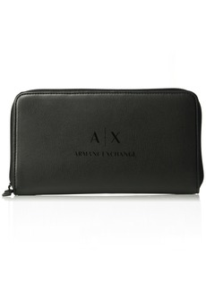Armani Exchange Men's Round Zip Nappa Pu Wallet Black