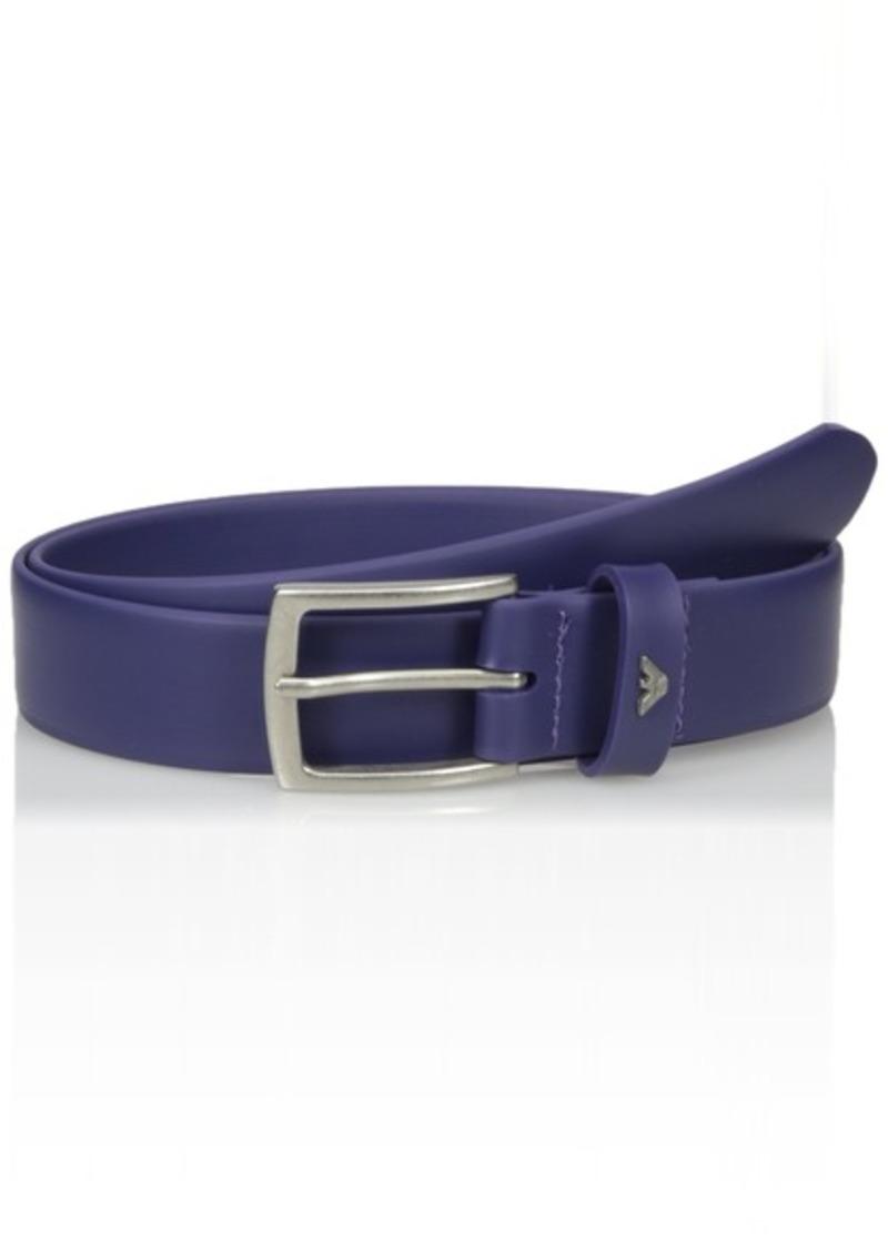 Armani Exchange Men's Rubberized Leather Belt royal blue