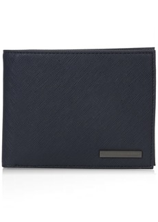 Armani Exchange Men's Safiano Embossed Pu Bifold Wallet with Coin Pocket blue