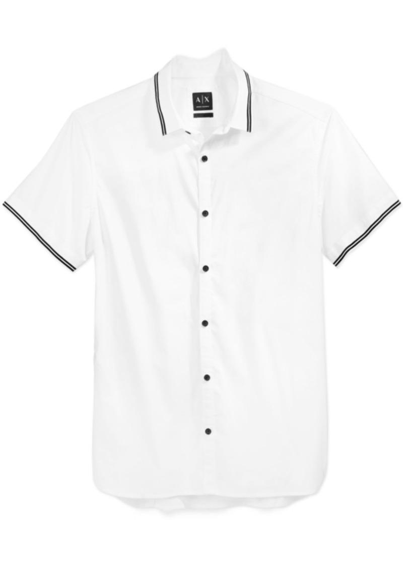 Armani Exchange Men's Short-Sleeve Tipped Woven Shirt