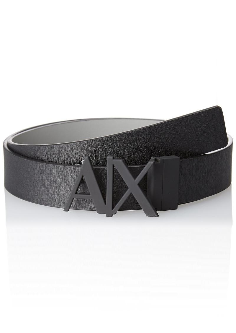 Armani Exchange Men's Skinny Leather Logo Belt Monmist/Black/moonmist