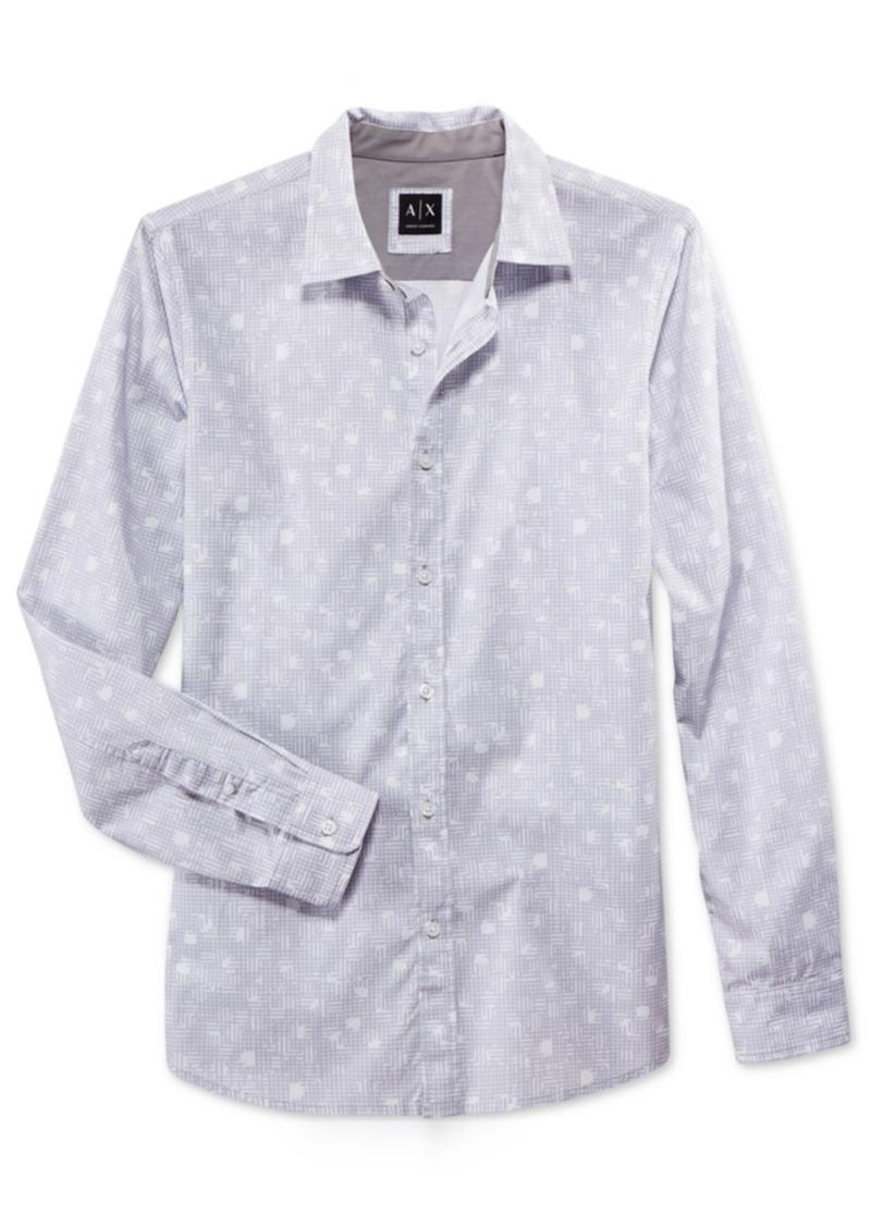 Armani Exchange Men's Slim Fit Linear Dot Print Shirt