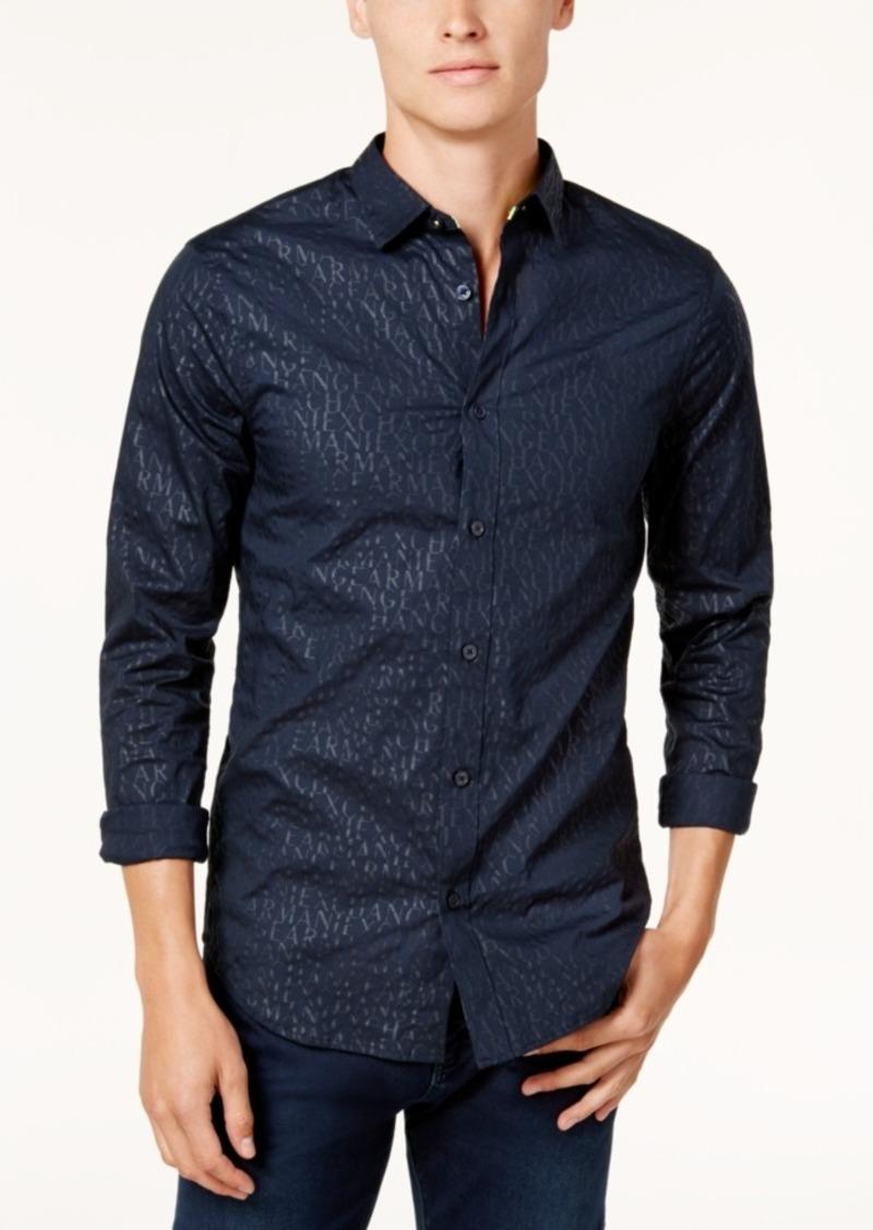 cd171bc413 Armani Exchange Armani Exchange Men s Slim-Fit Logo Print Shirt ...